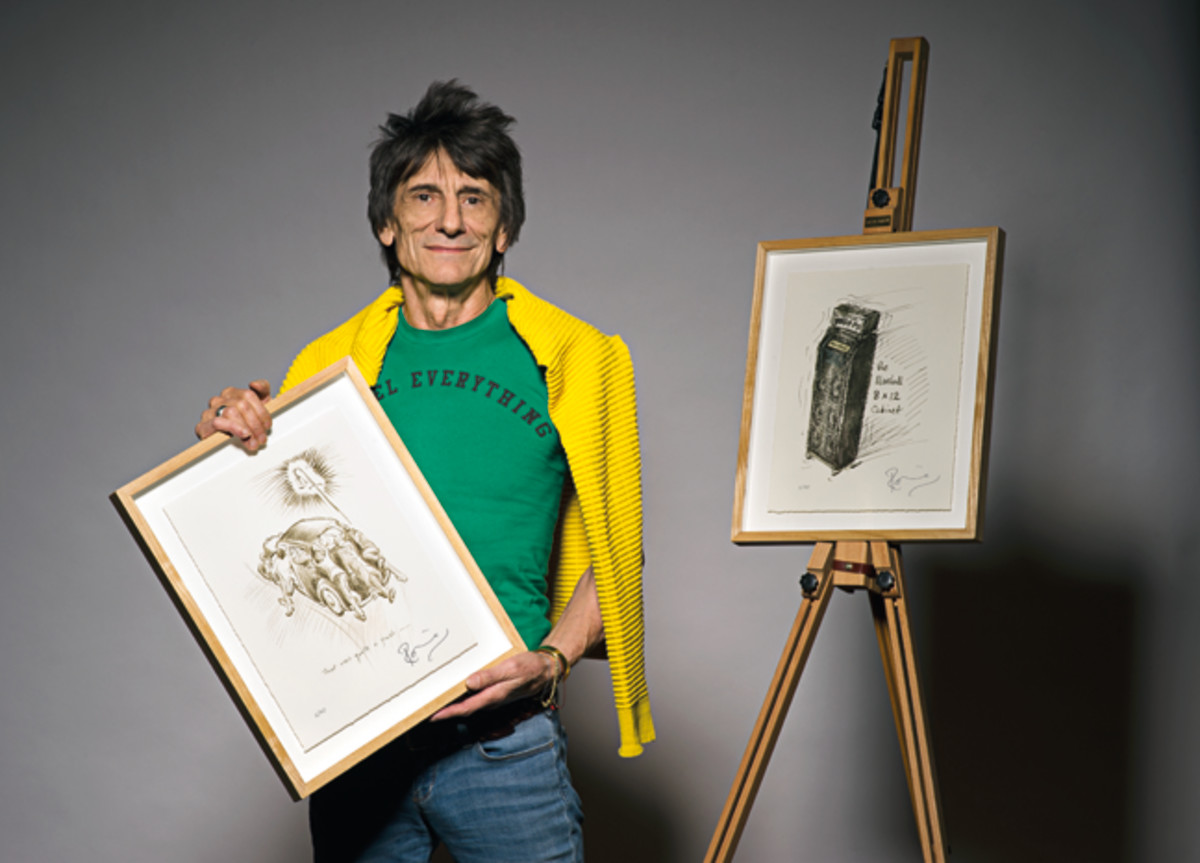 """Ron Wood with illustrations from his diary-converted-to-book, """"How Can It Be? A Rock & Roll Diary. Photo provided by Genesis Publications."""