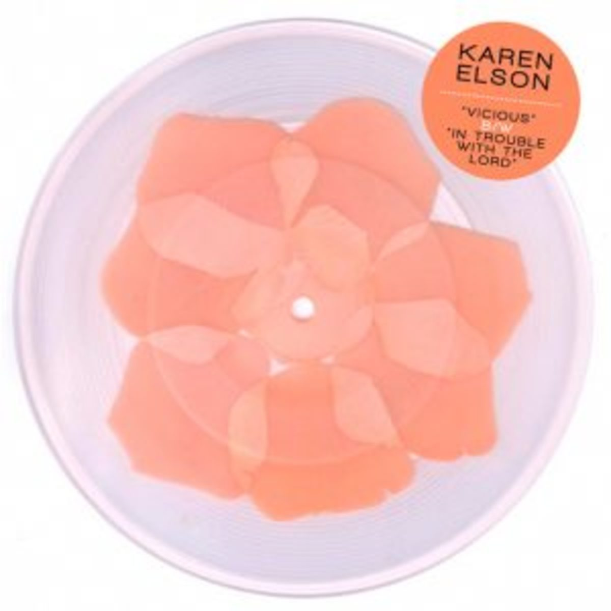 """Third Man's 7-inch of Karen Elson """"Vicious,"""" pressed with imitation flower petals, was released at Record Store Day in 2011."""