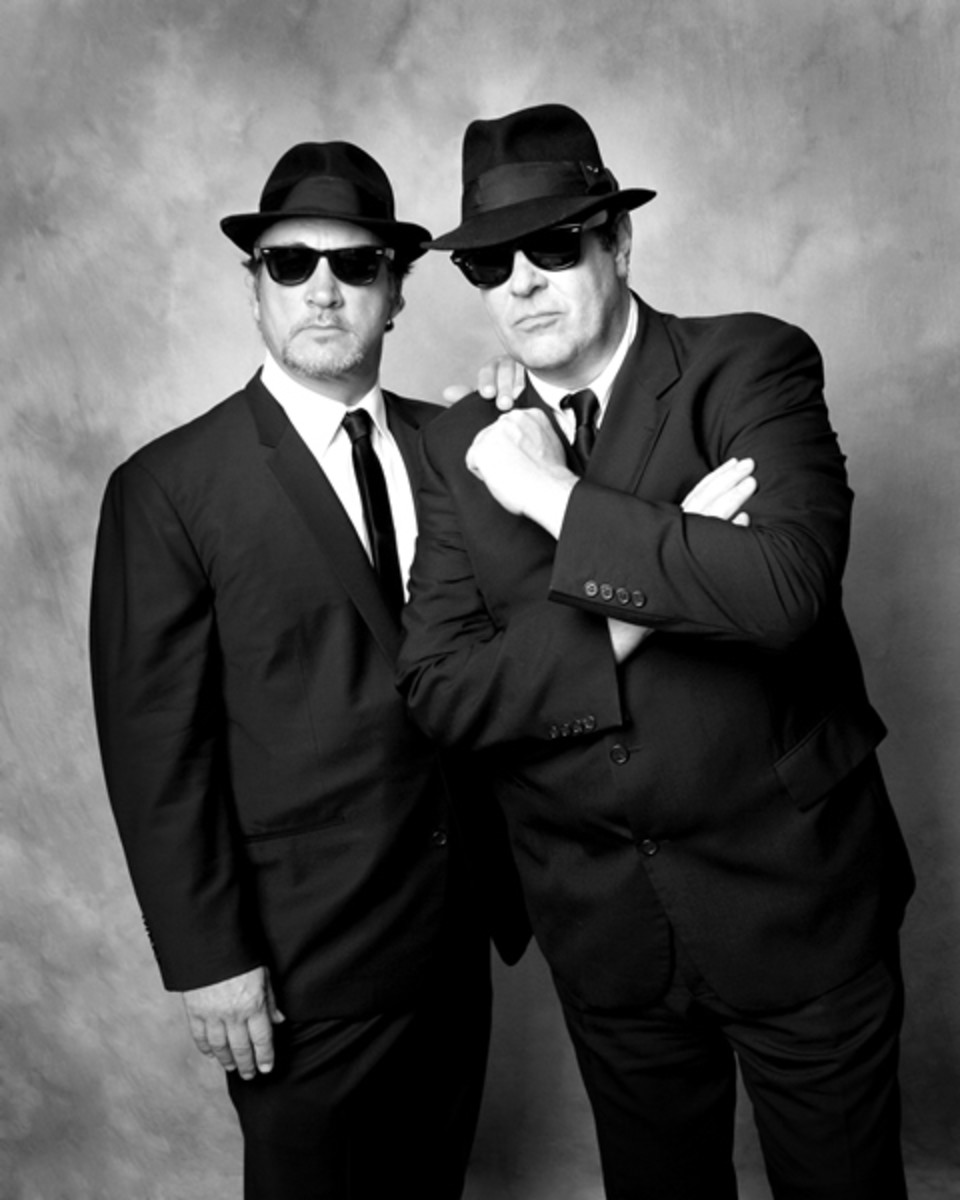 """Jim """"Brother Zee"""" Belushi (left) and Dan """"Elwood Blues"""" Aykroyd (right) teamed to perform a fun and memorable show as The Blues Brothers at the Wellmont Theater in Montclair, NJ on Friday, March 4th. (Photo by Stephanie Alexander)"""