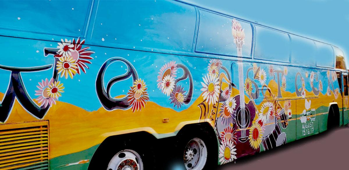 Exterior of Woodstock Nation's Woodstock Magic Bus: Traveling Museum of Music