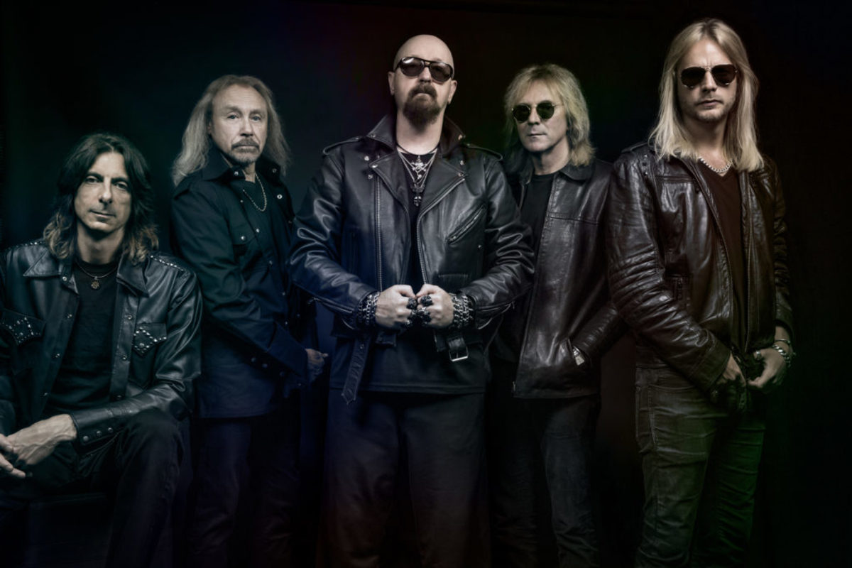 Judas Priest's 'Firepower' lineup (L-R): Drummer Scott Travis, bassist Ian Hill, vocalist Rob Halford, guitarists Glenn Tipton and Richie Faulkner. Publicity photo by Justin Borucki.