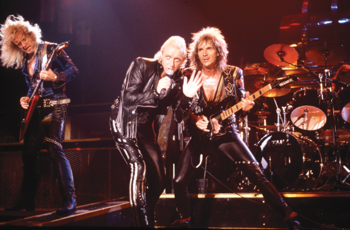 Judas Priest publicity image, performing live in the mid-1980s.