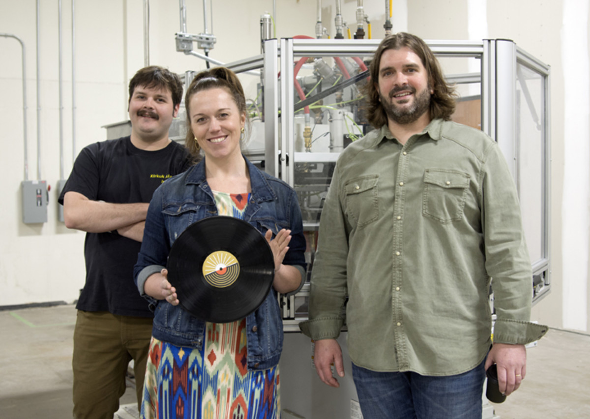Caren Kelleher (center), Gold Rush Vinyl's founder and president, with production manager Dave Mendoza (left) and director of operations Gator Russo (right) in mid-March.