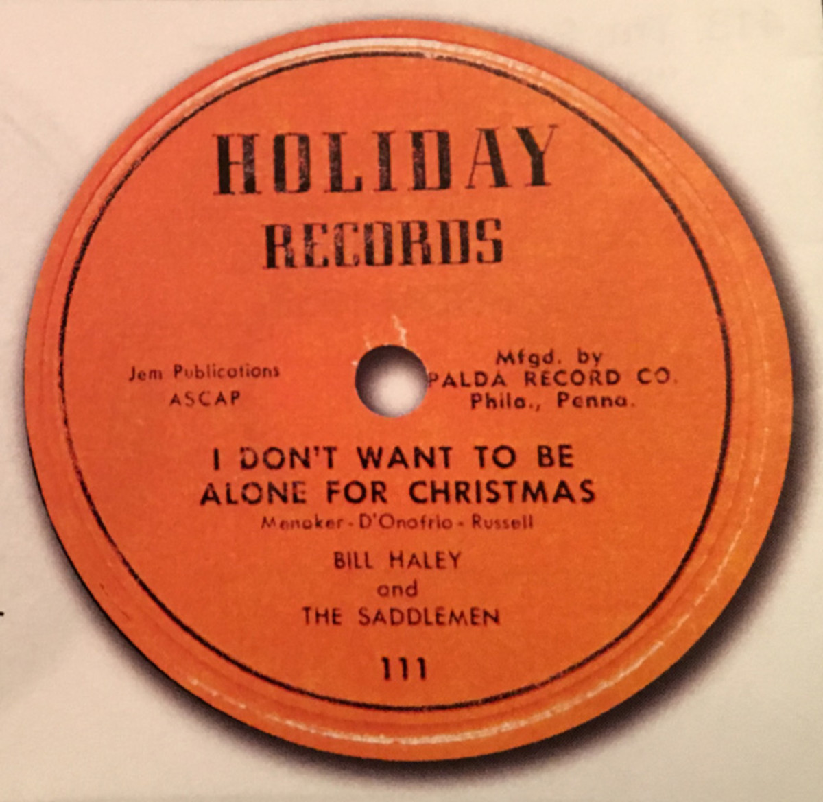 """""""I Don't Want To Be Alone For Christmas"""" 45 was released in December of 1954. Image courtesy of Tefteller's Rarest Records."""