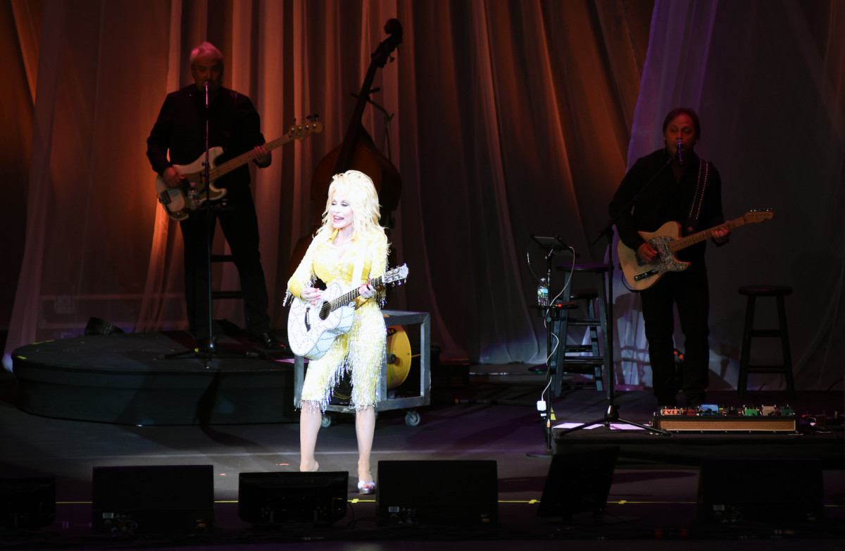 Dolly Parton is shown during her June 26 show at the PNC Bank Arts Center in Holmdel, N.J. (Photo by Chris M. Junior)
