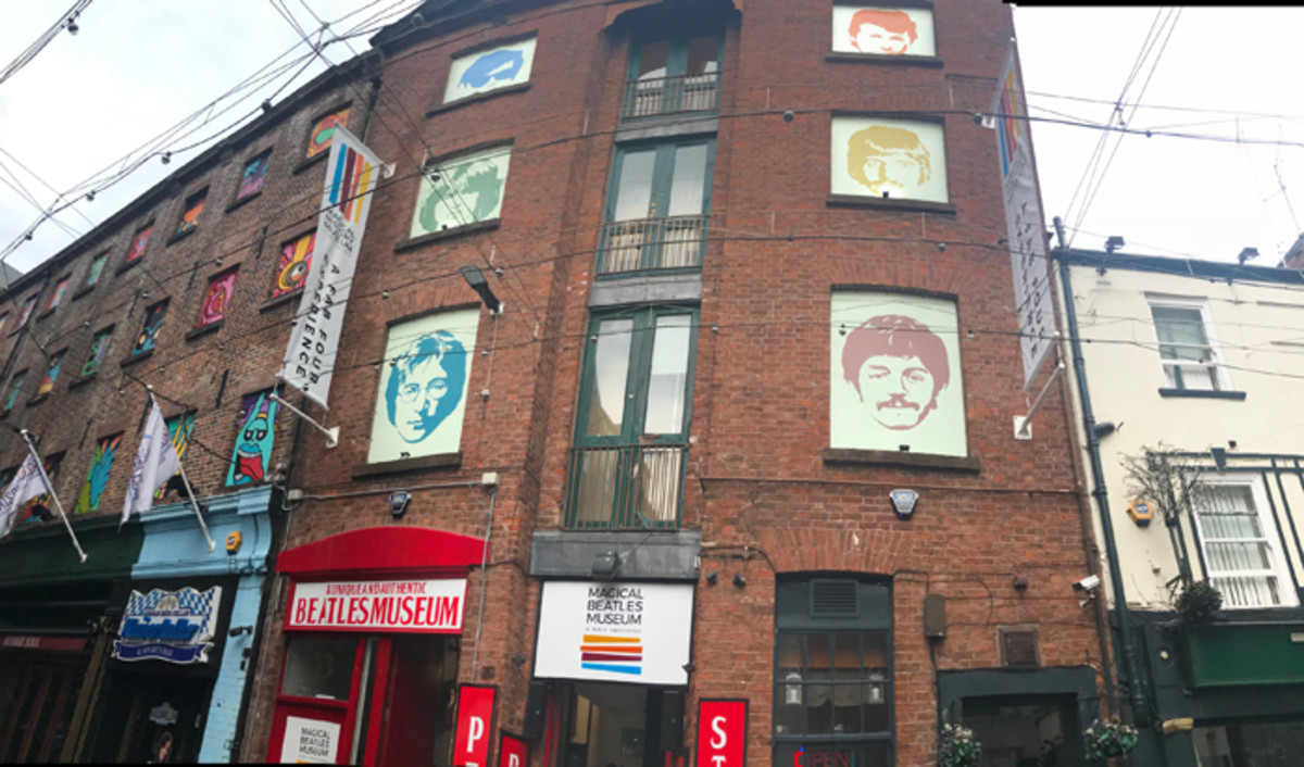 The front of the Magical Beatles Museum in Liverpool, England, and the museum's official logo, at right. Image courtesy of Roag Best.