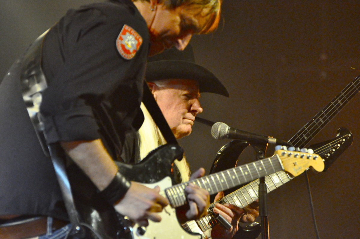 Johnny Winter and Nelson onstage together. Photo provided by Paul Nelson.