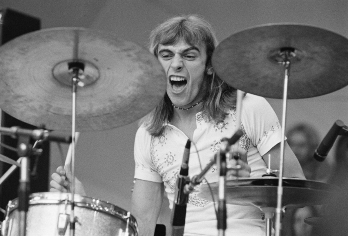 Drummer Alan White performing with Yes at a Crystal Palace Garden Party event, Crystal Palace Bowl, London, September 2, 1972. (Photo by Michael Putland/Getty Images)