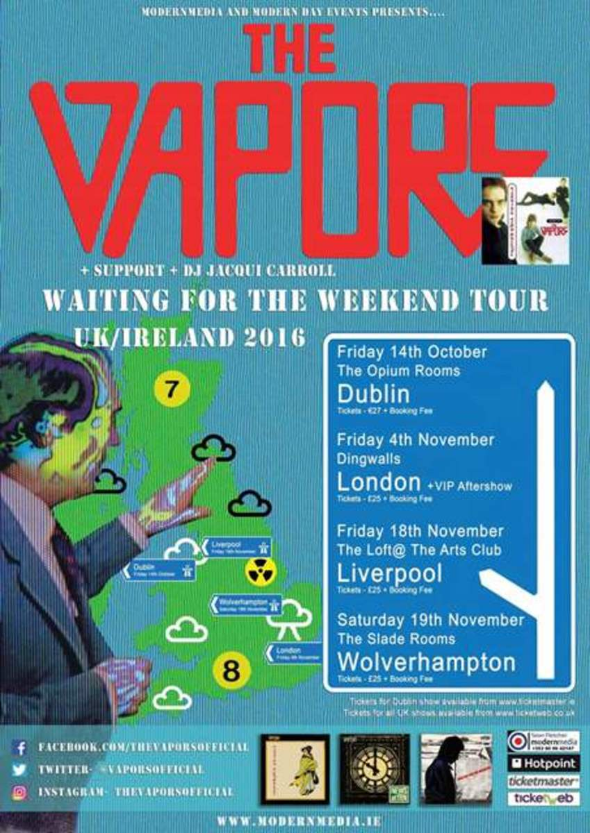 The poster for The Vapors' four scheduled shows this November in Ireland and the UK is shown here.
