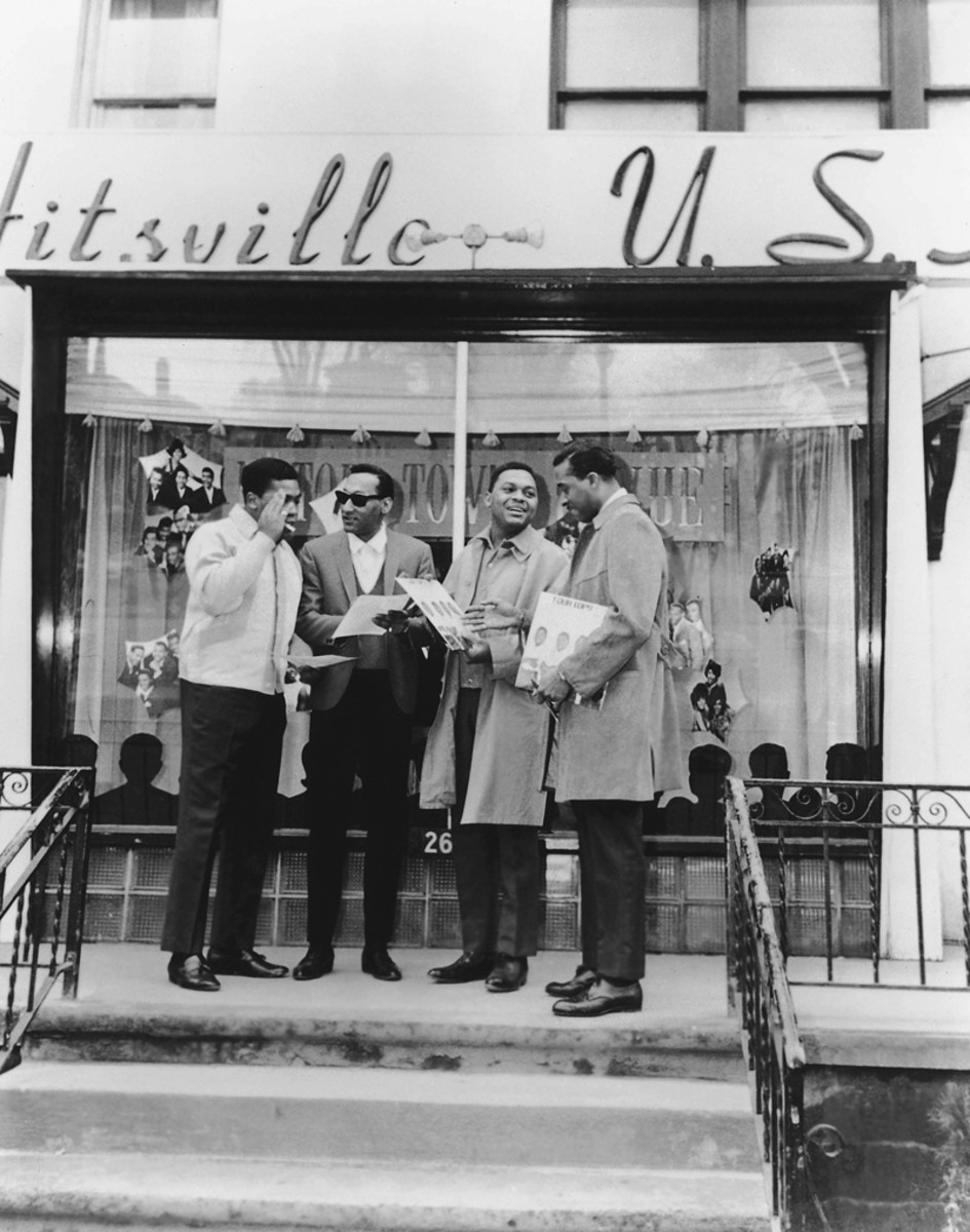 The Four Tops pose in front of the Hitsville building in the early 1960s. Photo courtesy of UMe.