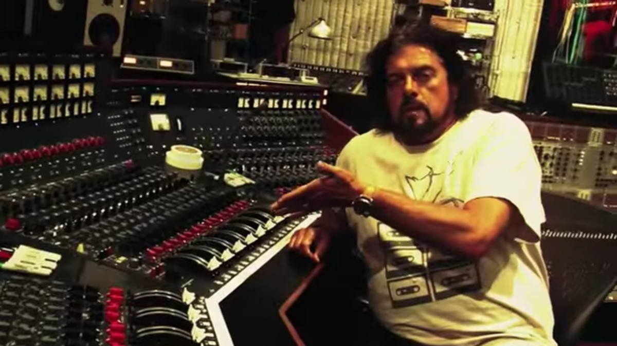 "Producer Alan Parsons with the ""Dark Side of the Moon"" console years later. Image courtesy of http://www.artandscienceofsound.com video."