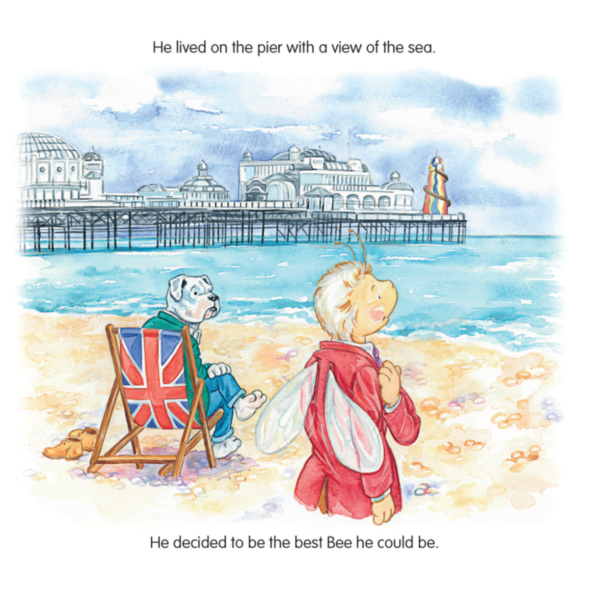 The book's Stinger character is a bell boy at a posh hotel in Brighton, England, lives on Brighton Pier and was inspired by the Ace Face/Bell Boy character portrayed by Sting in the 1979 film version of Quadrophenia. (Illustration by Tina Freeman)