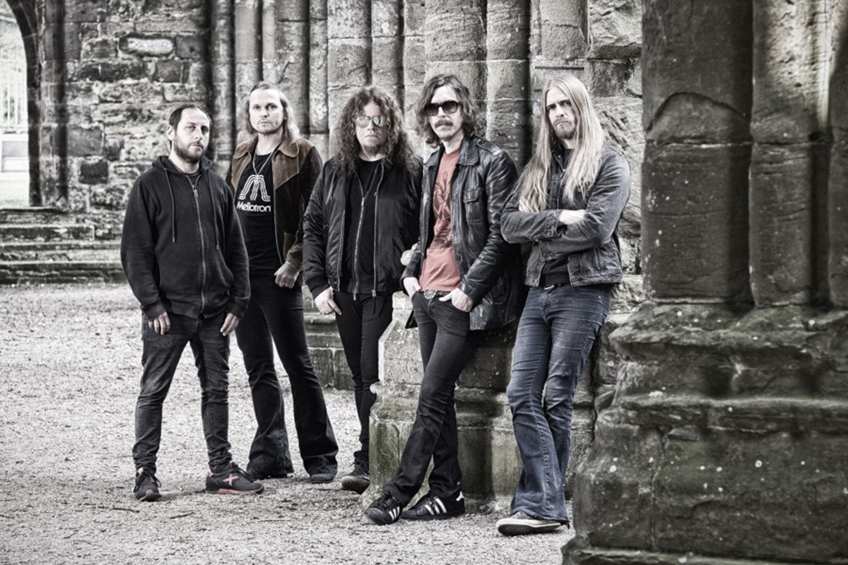 Opeth: (L-R): Martín Méndez (bass), Joakim Svalberg (keys/backing vocals), Fredrik Åkesson (lead guitar/backing vocals), Mikael Åkerfeldt (rhythm guitar/vocals), Martin Axenrot percussion). Photo by Stuart Wood.