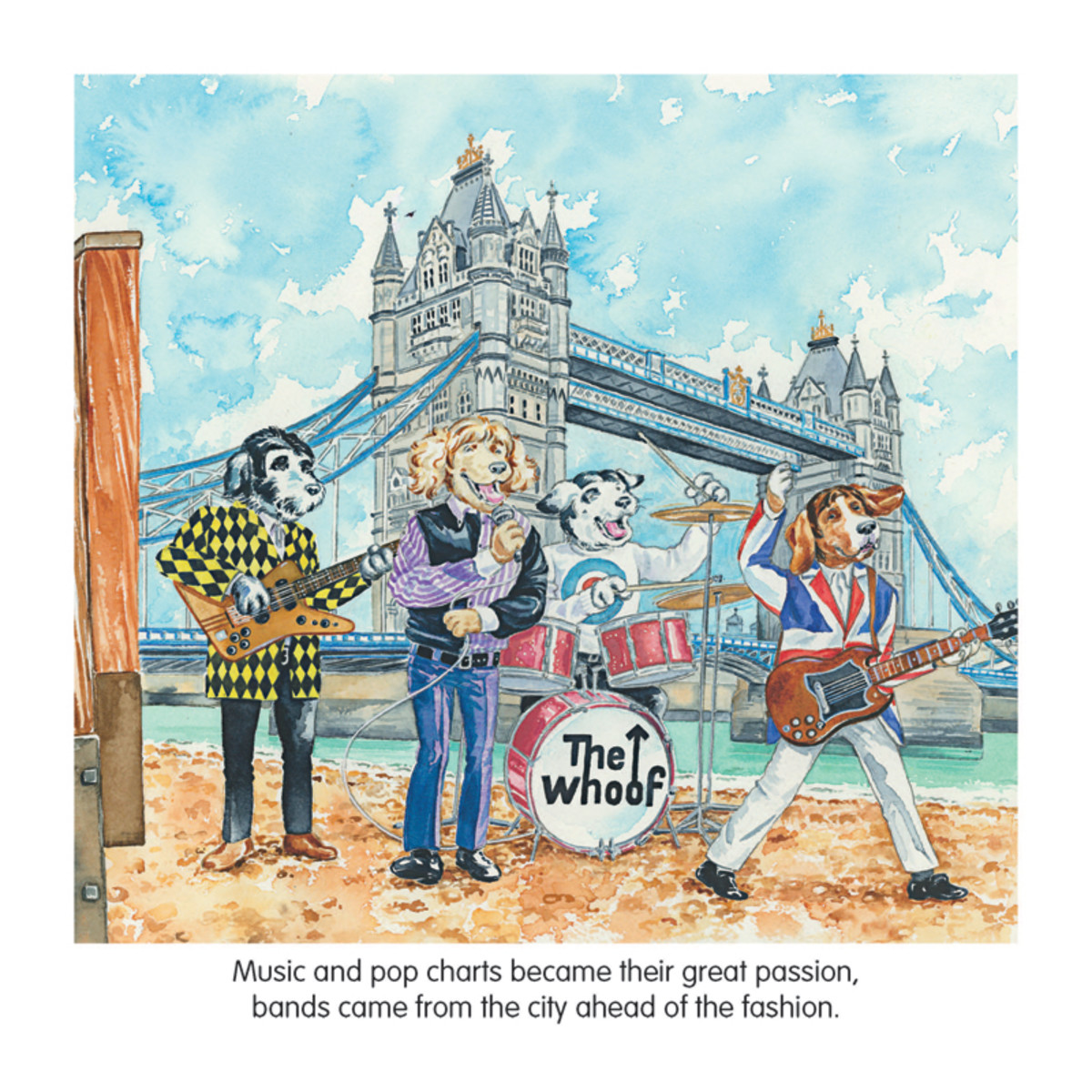 While children will surely enjoy the book, the adults reading it to them will get a kick out of the rock-music references that appear throughout the book. One example of that is the band of dogs, The Whoof, that were inspired by The Who. (Illustration by Tina Freeman)