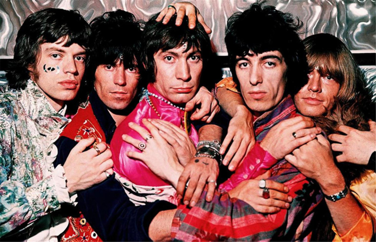 """The Stones in the photo studio taking album images for """"Their Satanic Majesties Request."""" Courtesy of ABKCO Music/Michael Cooper Collection"""