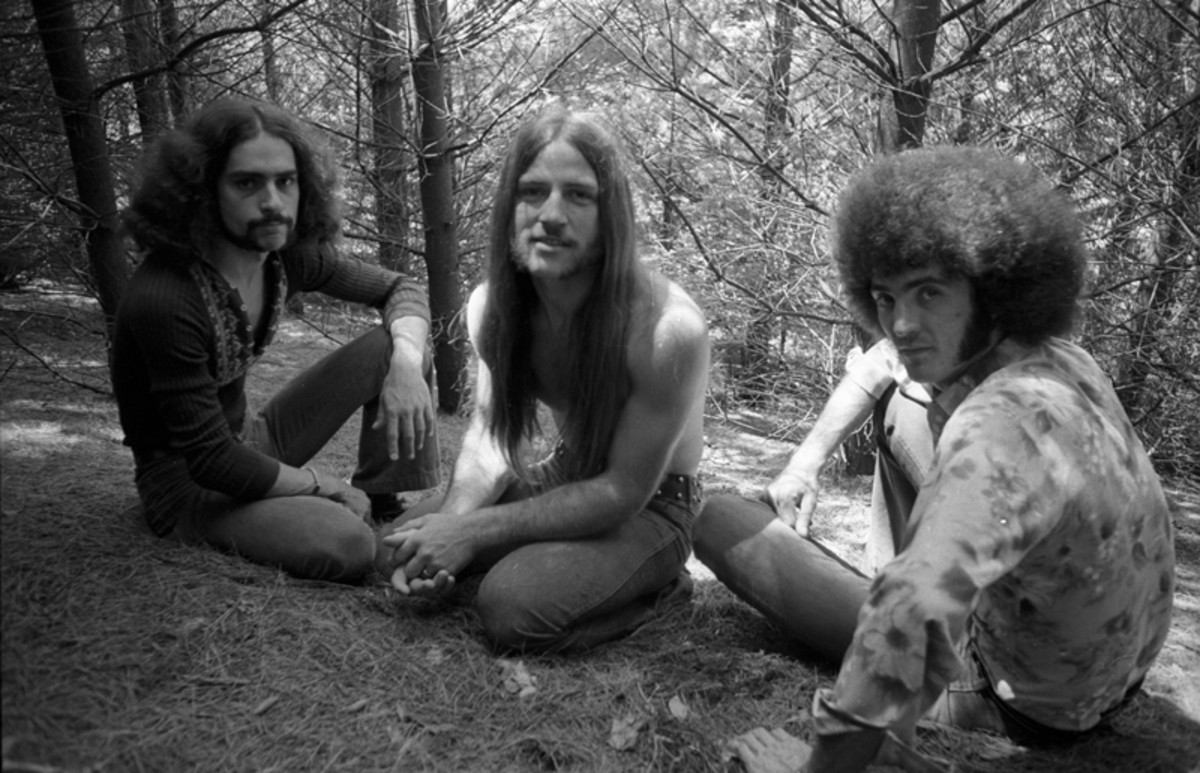 The classic trio lineup of the Grand Funk Railroad: (L-R) Mel Schacher, Mark Farner and Don Brewer. Photo by Michael Ochs Archives/Getty Images.