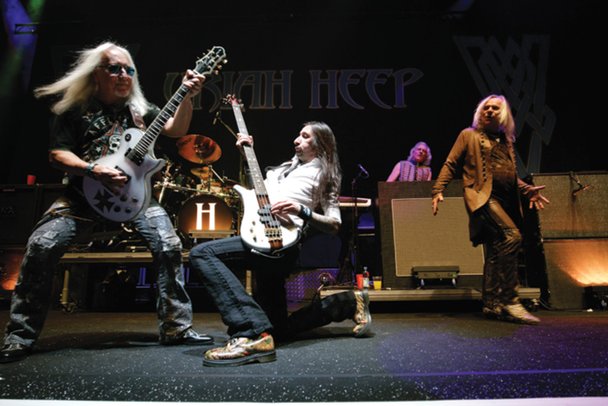 Uriah Heep (L-R): Mick Box (guitars), Russell Gilbrook (drums), Dave Rimmer (bass)Phil Lanzon (keys) and Bernie Shaw (vocals) are always electric on stage. Brill/ullstein bild via Getty Images.