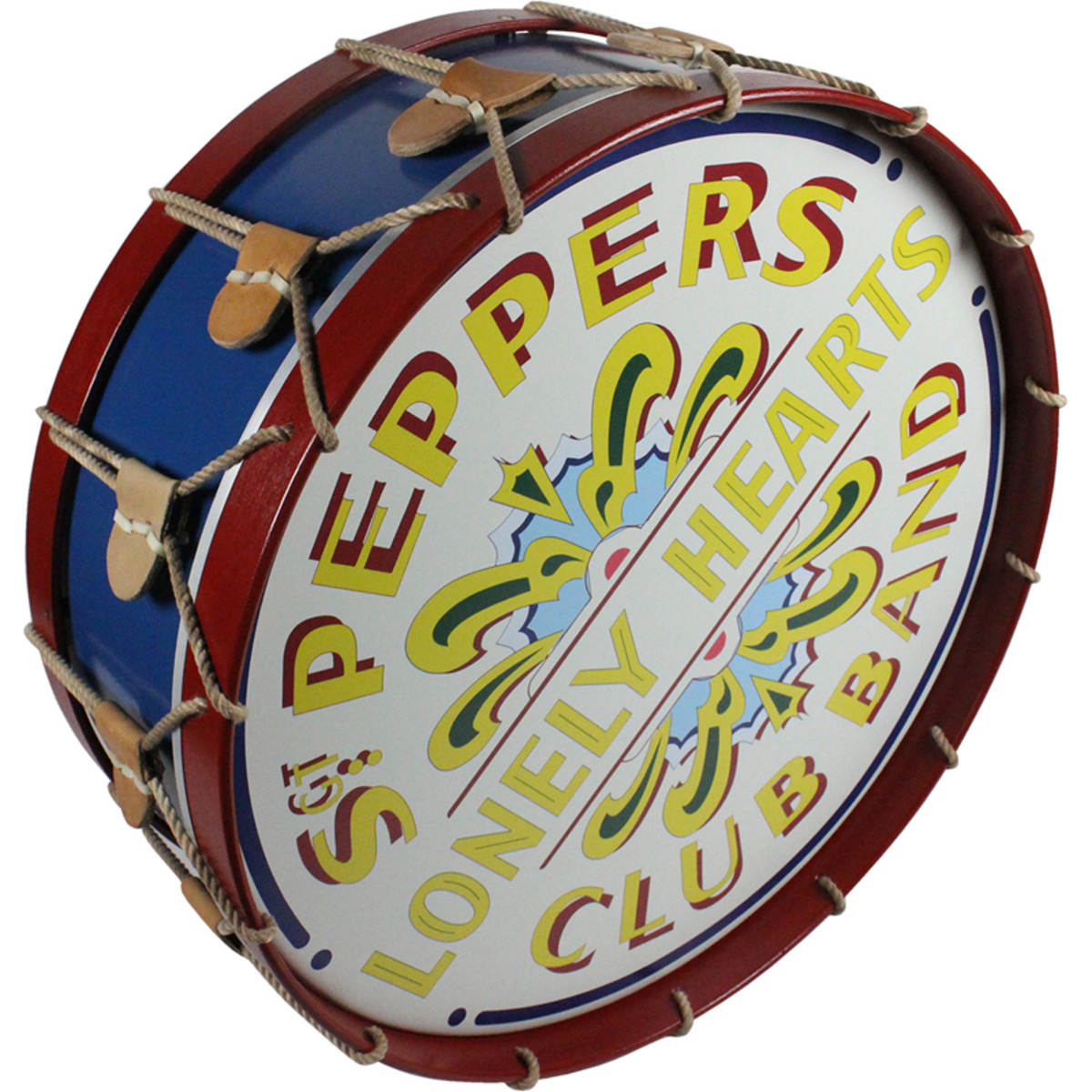 "A custom-made, handcrafted replica drum that includes the artwork from the drum of the ""Sgt. Pepper"" album cover. Courtesy of Steiner Sports."