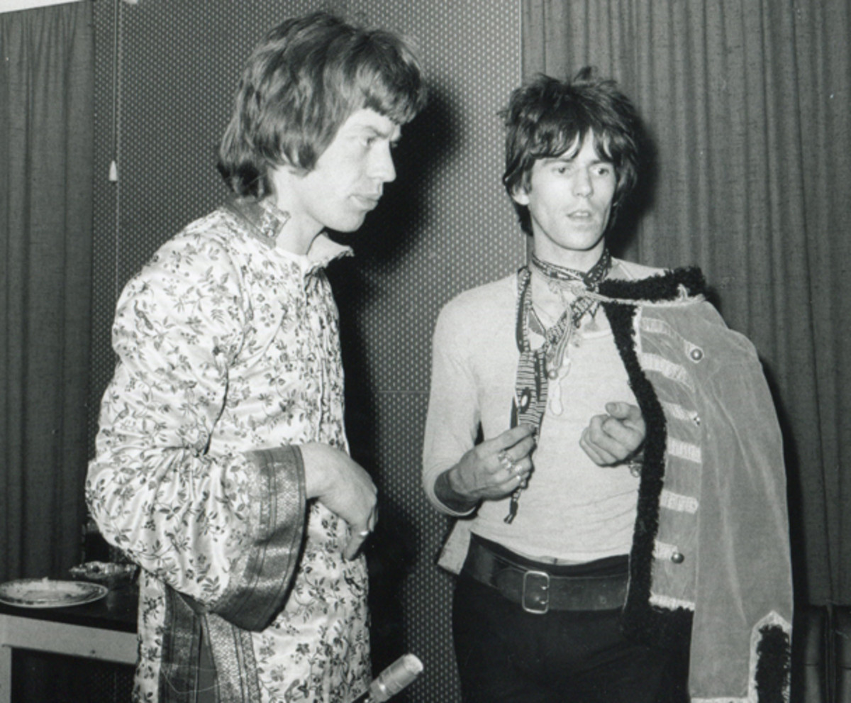 Mick Jagger (left) and Keith Richards in Olympic Studios, London, England, May 23, 1967. They were in the process of recording the album 'Their Satanic Majesties Request.' (Photo by Mark and Colleen Hayward/Redferns)