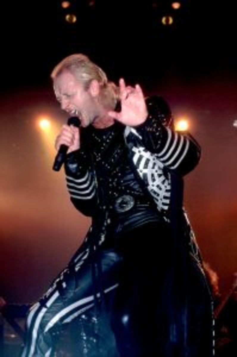 """Rob Halford in full scream during the Fuel For Life tour to support the 1986 """"Turbo"""" album. Photo by Paul Natkin/Getty Images."""
