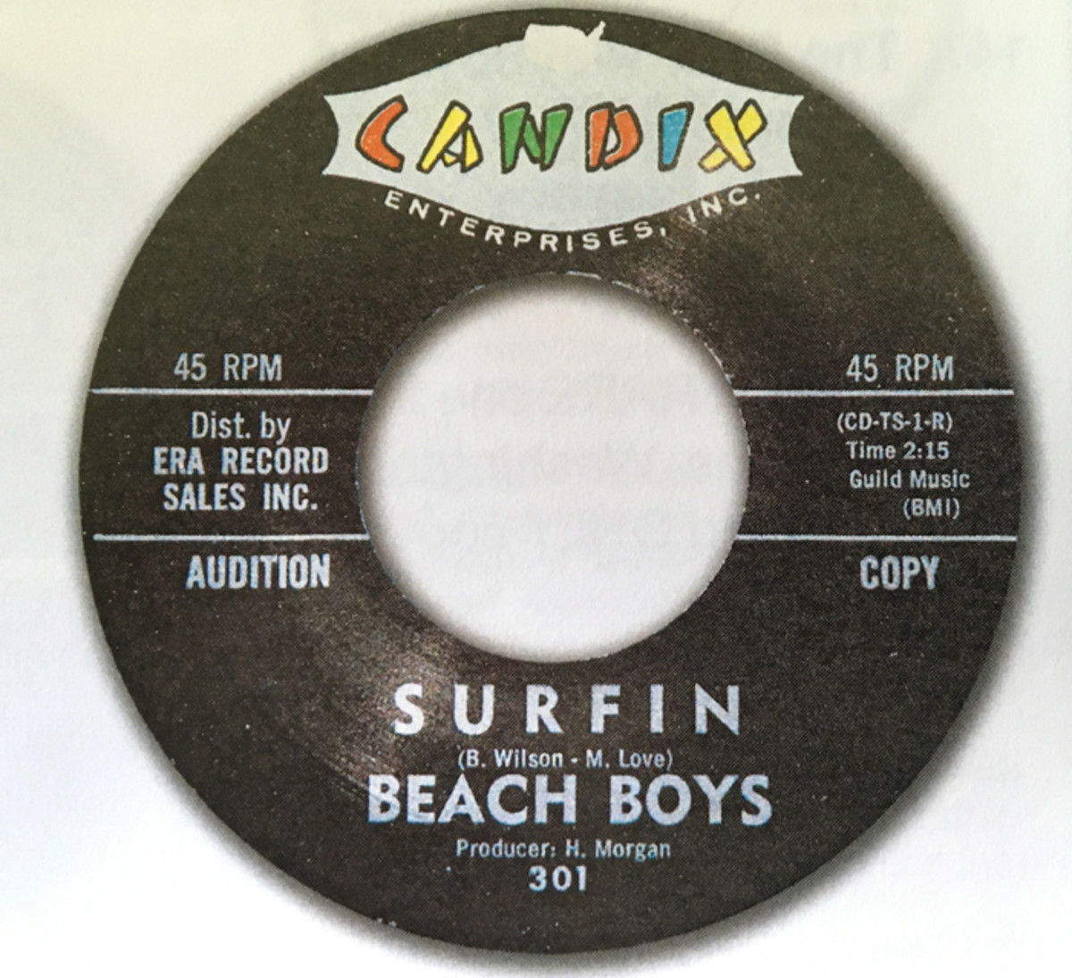 """Beach Boys' 45 of """"Surfin/Luau"""" on Candix (301) in mint condtion. Image courtesy of Tefteller's Rarest Records."""