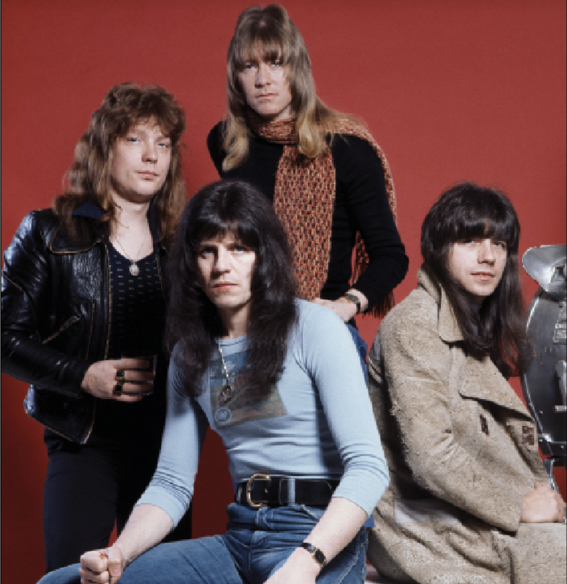 The classic Sweet lineup in London on January 13, 1976 (L-R): bassist Steve Priest (1948-2020), drummer Mick Tucker (1947-2002), singer Brian Connolly (1945-1997) and guitarist Andy Scott. Photo by Michael Putland/Getty Images