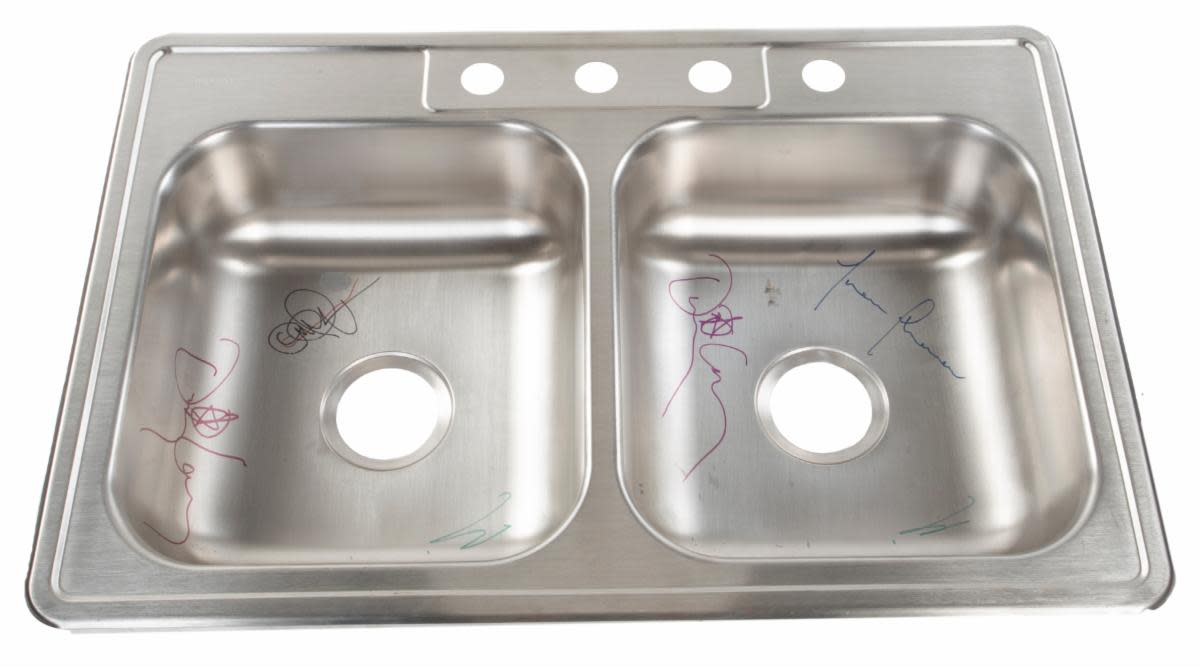 Stainless Steel Kitchen Sink signed by members of Tool