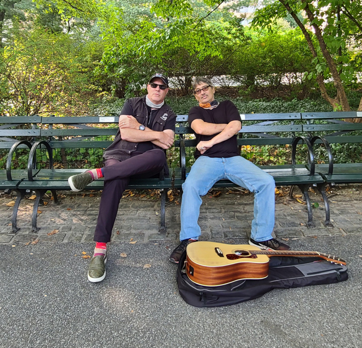 """Goldmine's """"Now We're 64"""" columnist John """"Jay Jay"""" French with David Muniz at the Strawberry Fields location in Central Park."""