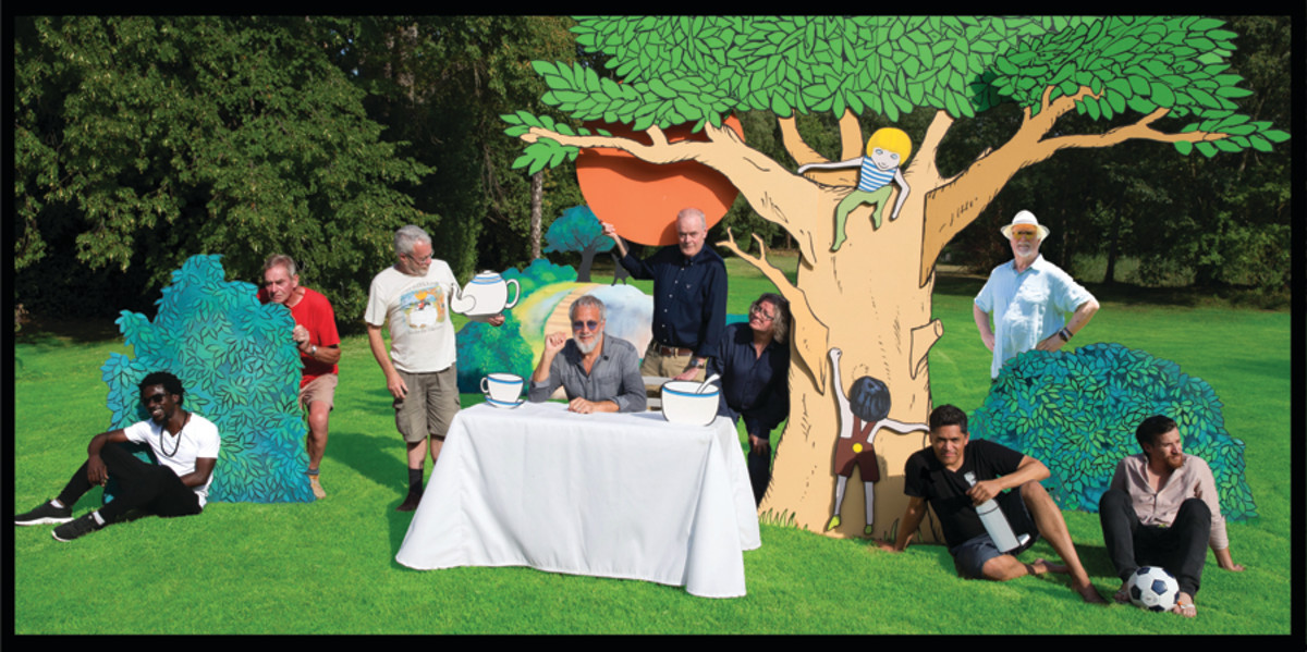 The gatefold for Yusuf/Cat Steven's Tea for the Tillerman 2 shows all those involved in the album — (L-R) Kwame Yeboah, Alun Davies, Bruce Lynch, Yusuf/Cat Stevens, Paul Samwell-Smith, Peter Vettese, Eric Appapoulay, Jim Cregan and David Hefti — in a setting that deals with the music's unique story. Photo by Rhys Fagan.