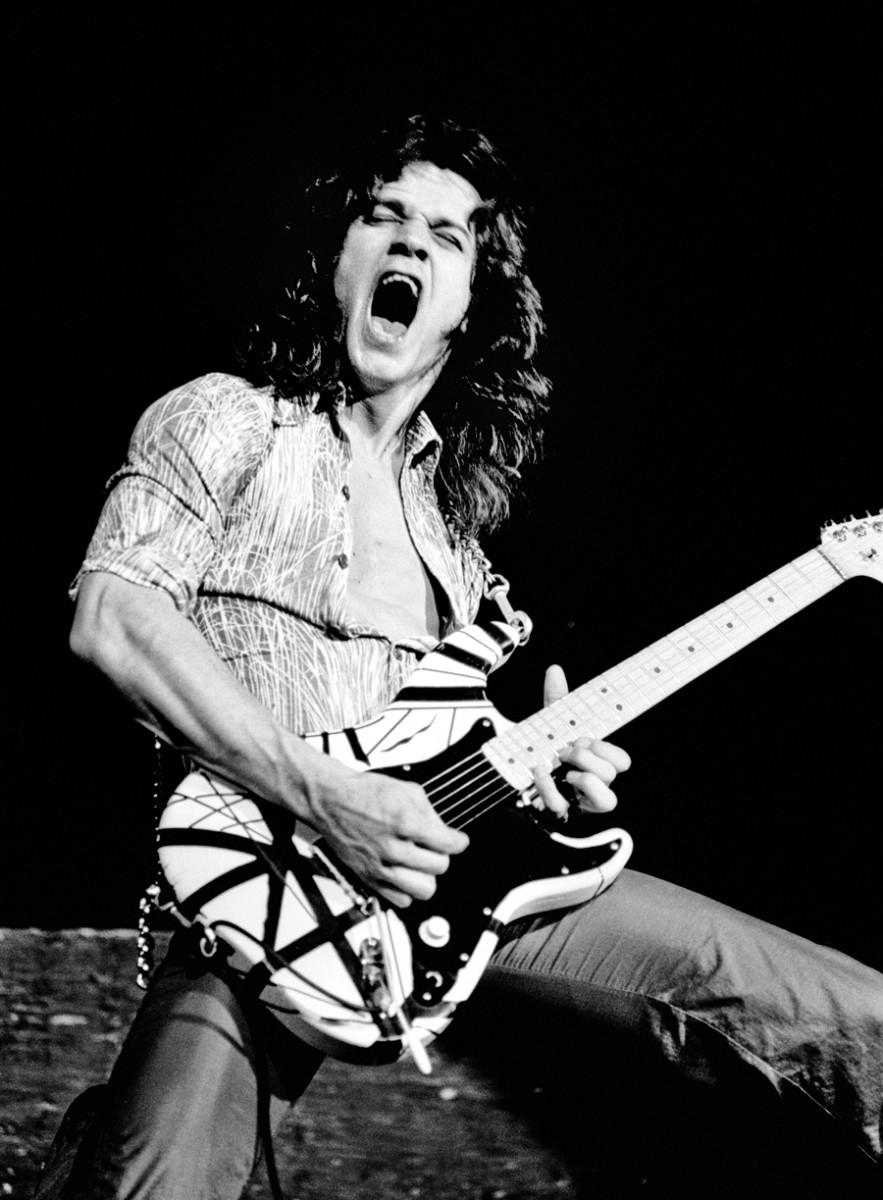 Eddie Van Halen performs onstage at Lewisham Odeon, London, May 27, 1978. Photo byGus Stewart/Redferns.