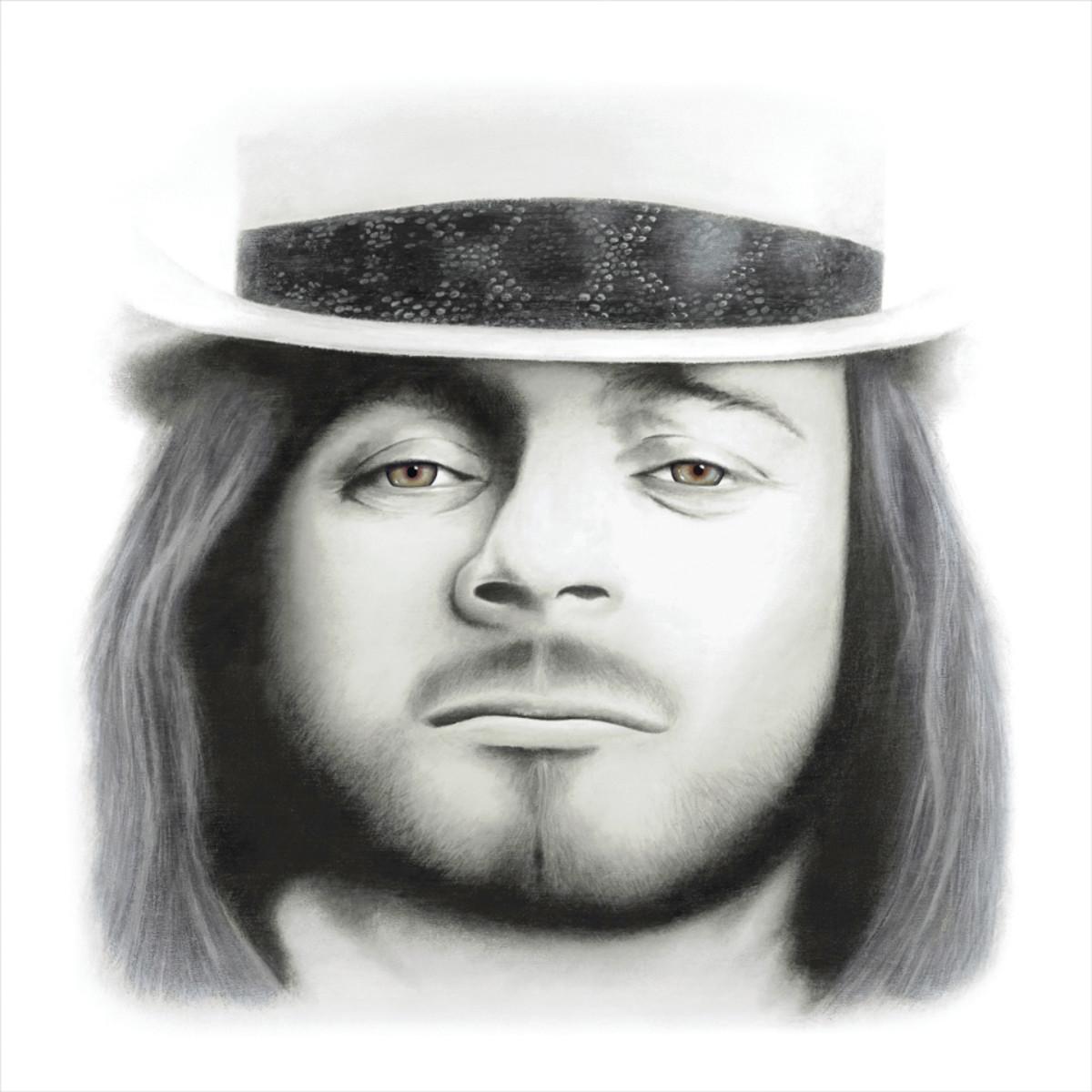 Canvas giclée ofMichael Cartellone's portrait of legendary Lynyrd Skynyrd singer Ronnie Van Zant.