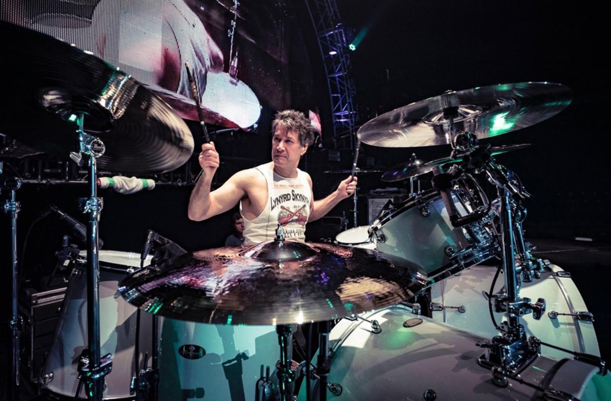 MichaelCartellone drumming withLynyrd Skynyrd. Photo by Doltyn Snedden, courtesy of Michael Cortellone.