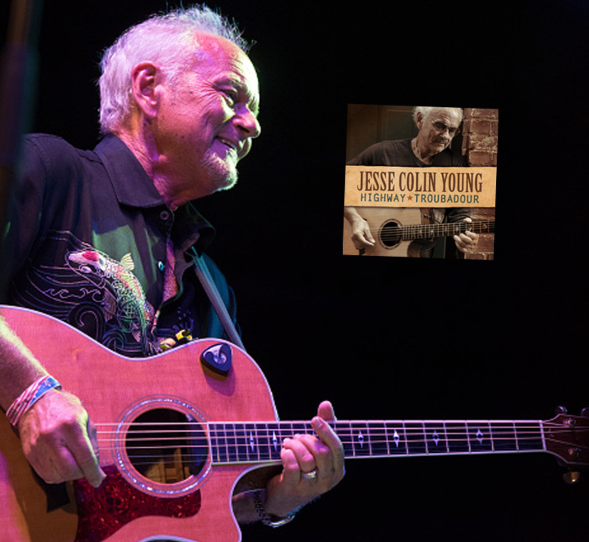 """Jesse Colin Young performs during the """"Music & Revolution: Greenwich Village in the 1960's Concert"""" at SummerStage, Rumsey Playfield, Central Park on August 12, 2018, in New York City. Photo byDebra L Rothenberg/Getty Images.Above left, Young's latest album Highway Troubadour."""