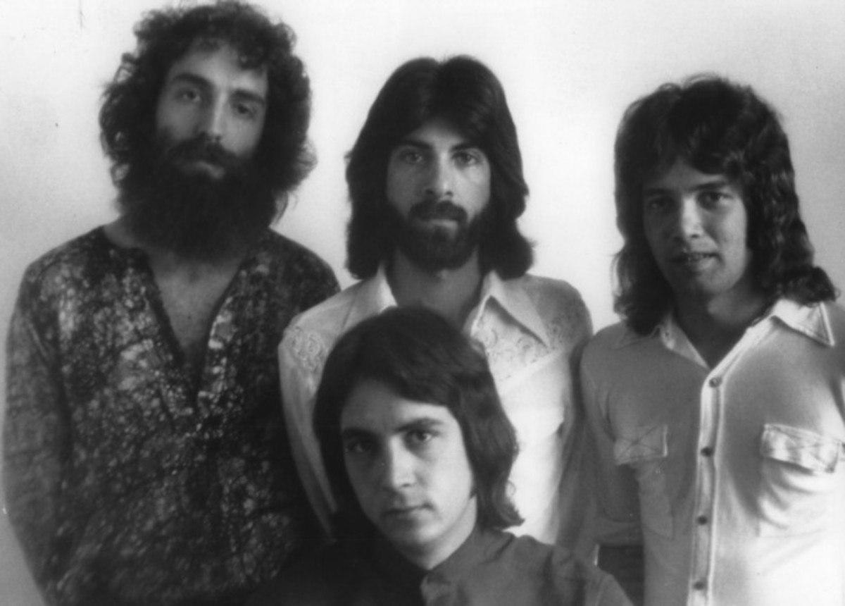 The Michael Stanley Band, 1975 promotion photo, back row: Jonah Koslen, Dan Pechhio, Tommy Dobeck, front row: Michael Stanley