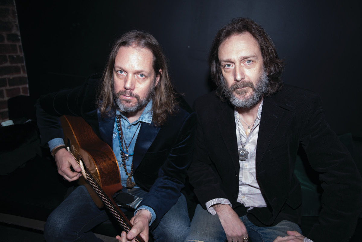 Rich and Chris Robinson, as they pose backstage at Lincoln Hall, Chicago, Illinois, February 27, 2020.