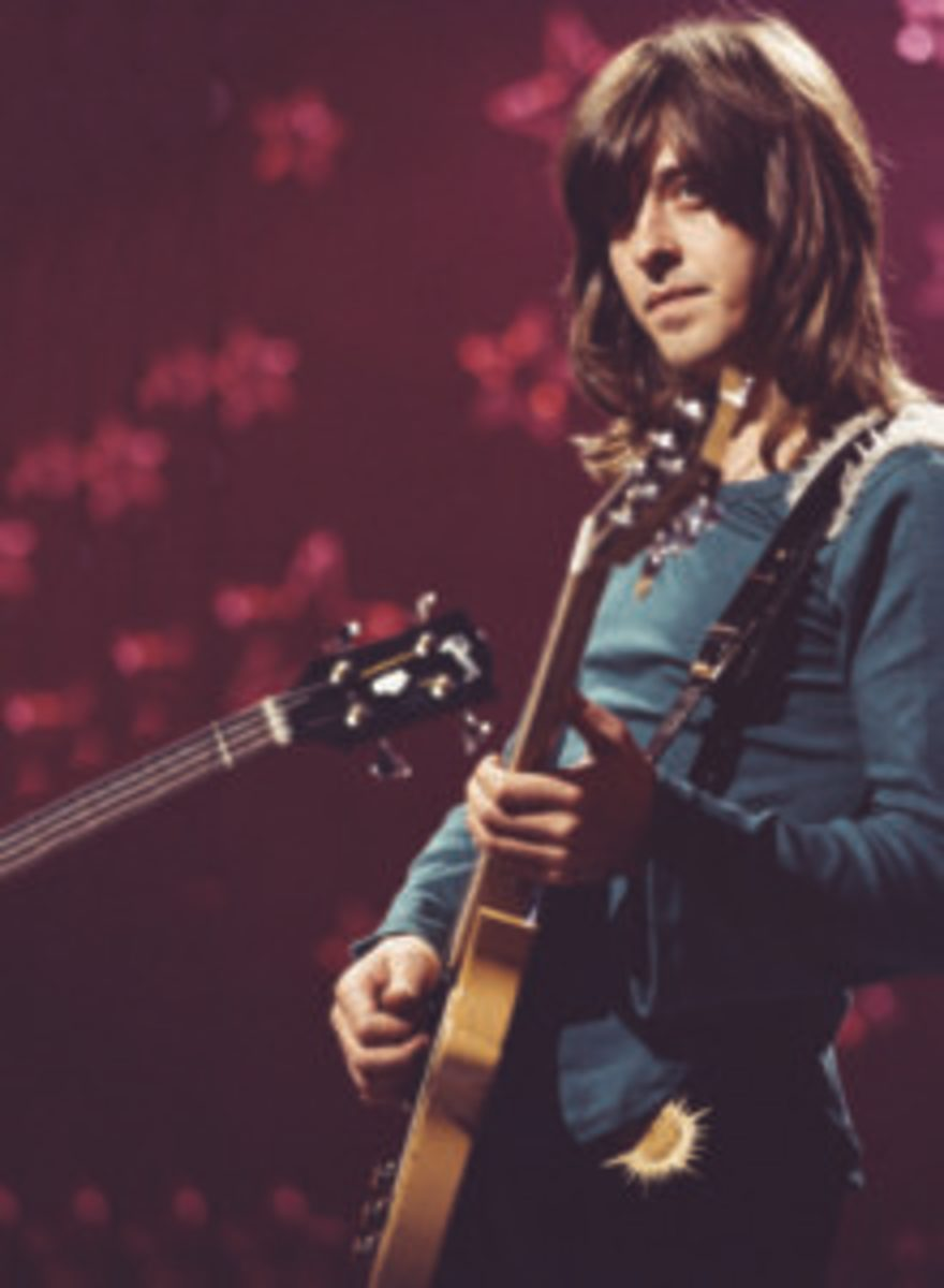 Guitarist Joey Molland of British rock band, Badfinger, filming a performance of 'Day After Day' to be used as an insert for the 'Top Of The Pops', music show, BBC Television Centre, London, 26th January 1972. It is unclear whether the segment was ever broadcast. (Photo by Michael Putland/Getty Images)