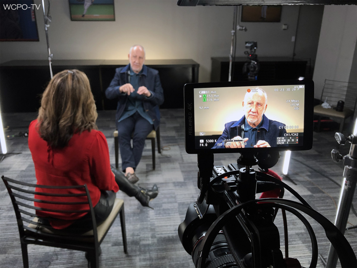 Pete Townshend is shown being interviewed by WCPO's Tanya O'Rourke for the station's documentary The Who: The Night That Changed Rock. (Photo courtesy of WCPO-TV)