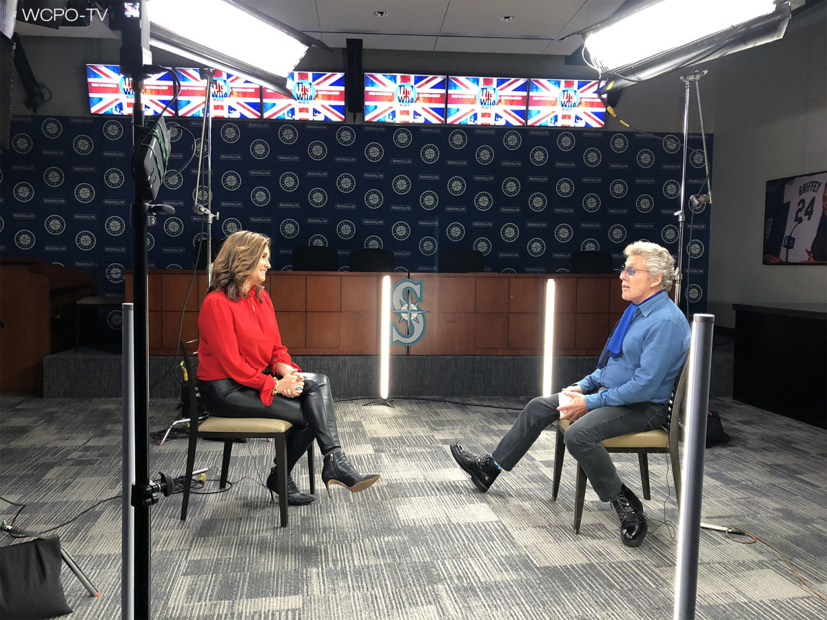 WCPO's Tanya O'Rourke travelled to Seattle to interview The Who for the station's documentary about the December 1979 Cincinnati concert tragedy and is shown here talking to Roger Daltrey. (Photo courtesy of WCPO-TV)