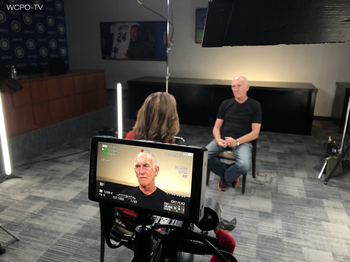 The Who's manager Bill Curbishley speaks to WCPO's Tanya O'Rourke about the December 1979 Cincinnati concert tragedy. (Photo courtesy of WCPO-TV)