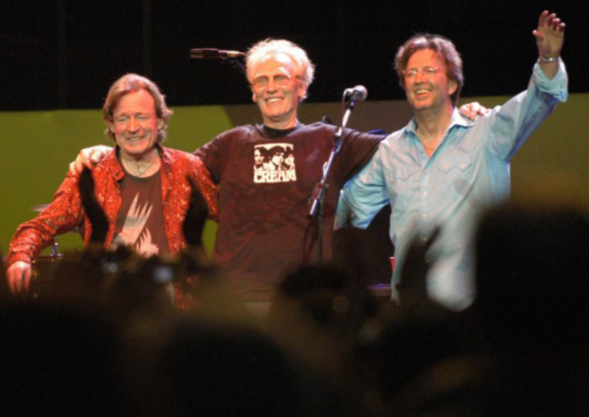 Ginger Baker, standing between Jack Bruce and Eric Clapton, during a Cream Reunion concert at Royal Albert Hall London, May 2005. Jill Furmanovsky/Star File/Courtesy of Rhino Records.