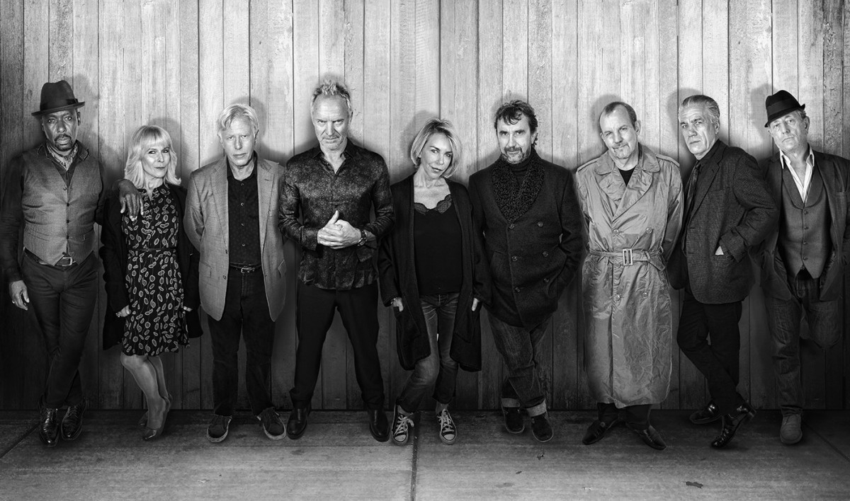 A 2019 photo of the reunited Quadrophenia cast features (left to right) Trevor Laird, Toyah Wilcox, Phil Davis, Sting, Leslie Ash, Phil Daniels, Gary Shail, Garry Cooper and Mark Wingett. (Photo courtesy of Sky Arts)