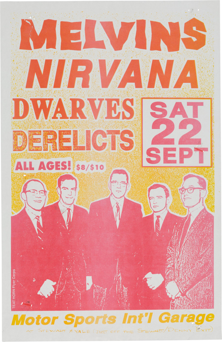 Nirvana/Melvins Motor Sports International Garage Concert Poster (1990).The first (and only) show Nirvana played with Dan Peters from Mudhoney on drums. In the audience that night was future drummer Dave Grohl, who was stranded on the west coast when his band broke up in the middle of a tour.Courtesy of Heritage Auctions.