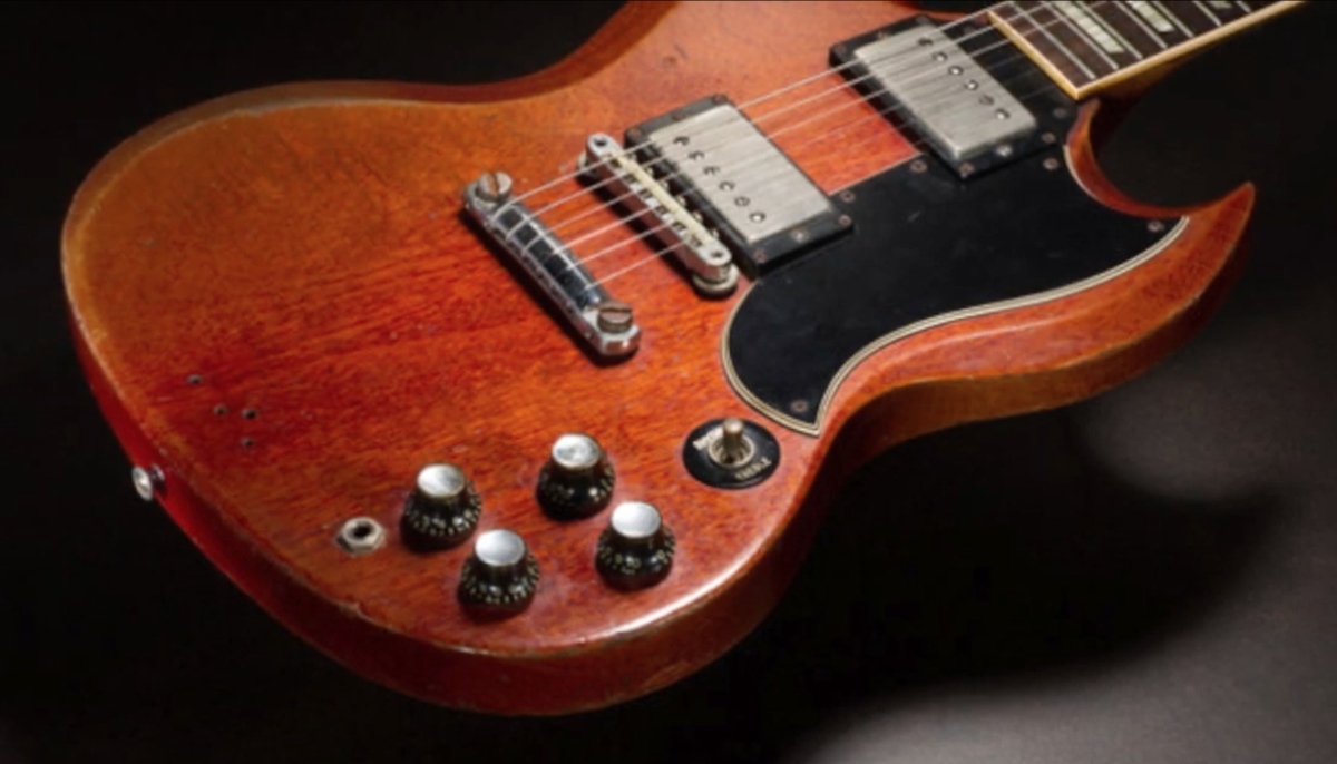 Duane Allman's guitar, circa 1961/1962, a Gibson SG, Cherry, solid body electric guitar, serial #15263, which was owned and played by Graham Nash, sold for $591,000 on July 21, 2019 via Heritage Auctions.