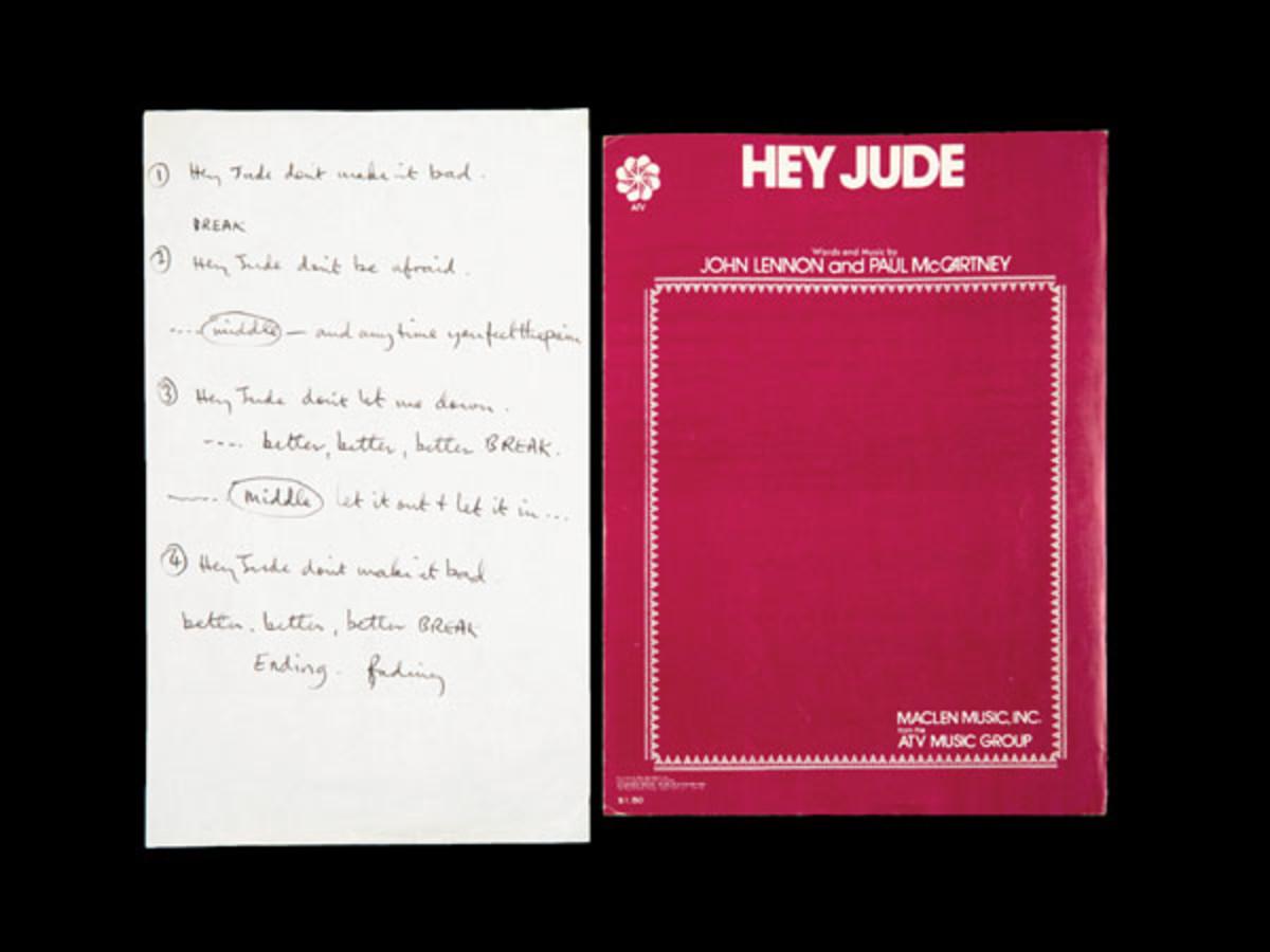 Paul McCartney's handwritten Hey Jude Lyrics