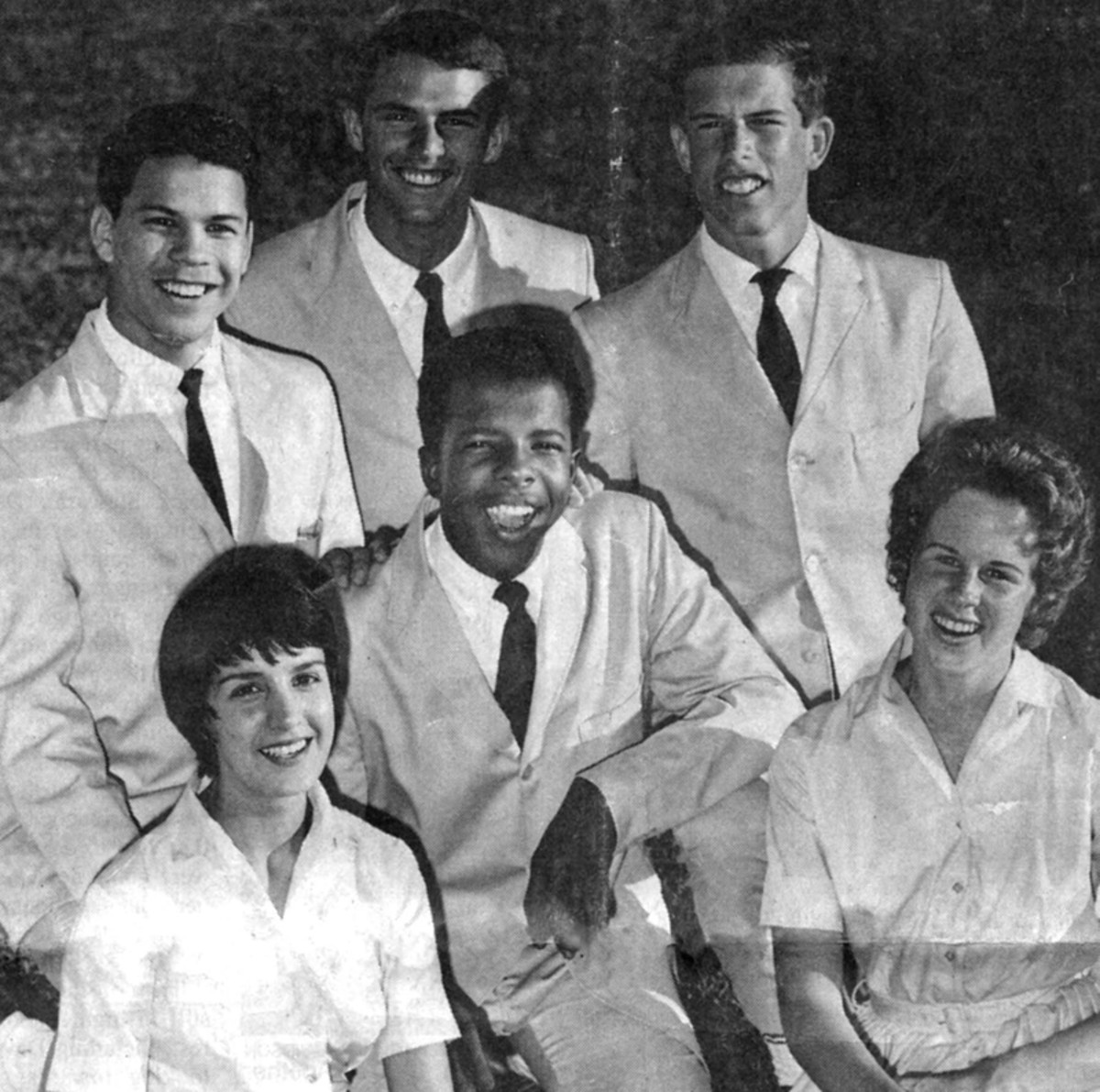 "The Viscaynes in 1961 (clockwise, from top left): Frank Arellano, Charlie Gebhardt, Vern Gebhardt, Charlene Imhoff, Sylvester ""Sly"" Stewart and Maria Boldway. Courtesy of Charlene Imhoff."