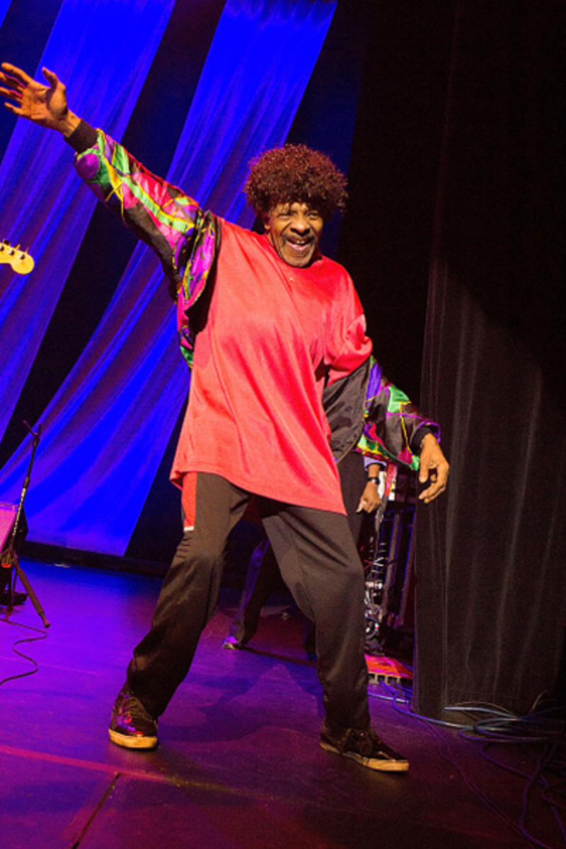 Sly Stone in later years; a rare appearance with The Family Stone during Hippiefest 2015 at Count Basie Theater on August 23, 2015 in Red Bank, New Jersey. Photo by Mark Weiss/Getty Images.