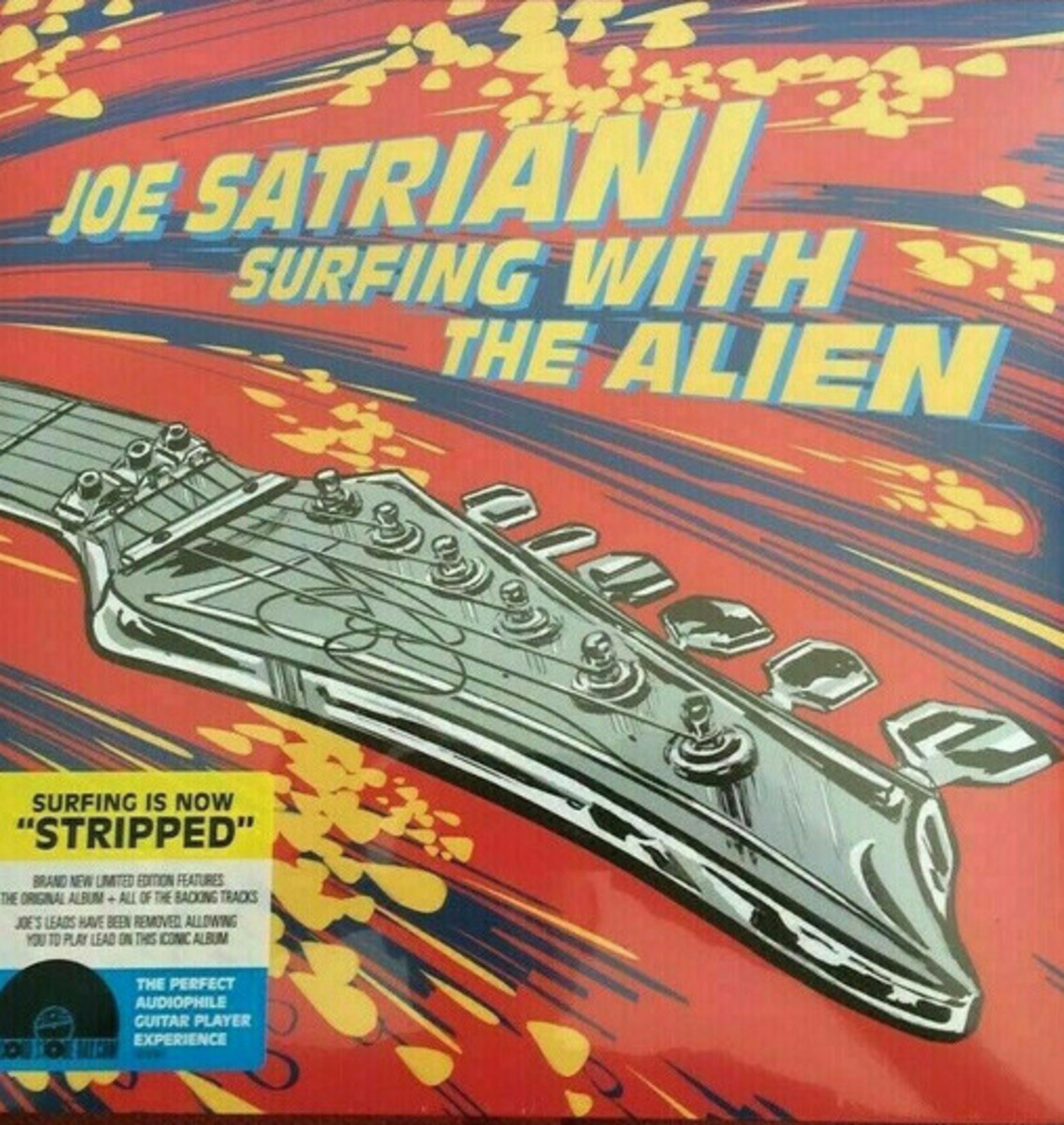 """A Record Store Day Black Friday exclusive limited edition release, with a red variant of """"Surfing With The Alien"""" and a yellow variant of """"Surfing With The Alien (Stripped)""""; a special edition mix of the album that features just the backing tracks of the music. Limited to 3,500 presses. Includes digital download card. Plus, the release includes printed inner sleeves containing photographs, credits and liner notes describing the stripped version."""