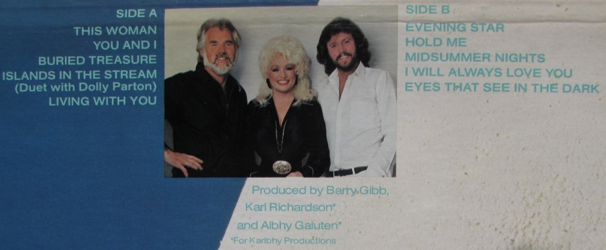 Back cover of 1983's Eyes That See in the Dark album, Kenny, Dolly and Barry