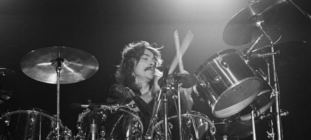 RUSH drummer, Neil Peart, power drumming at the Civic Center in Springfield, Massachusetts, during the band's All The World's a Stage tour, December 9, 1976.