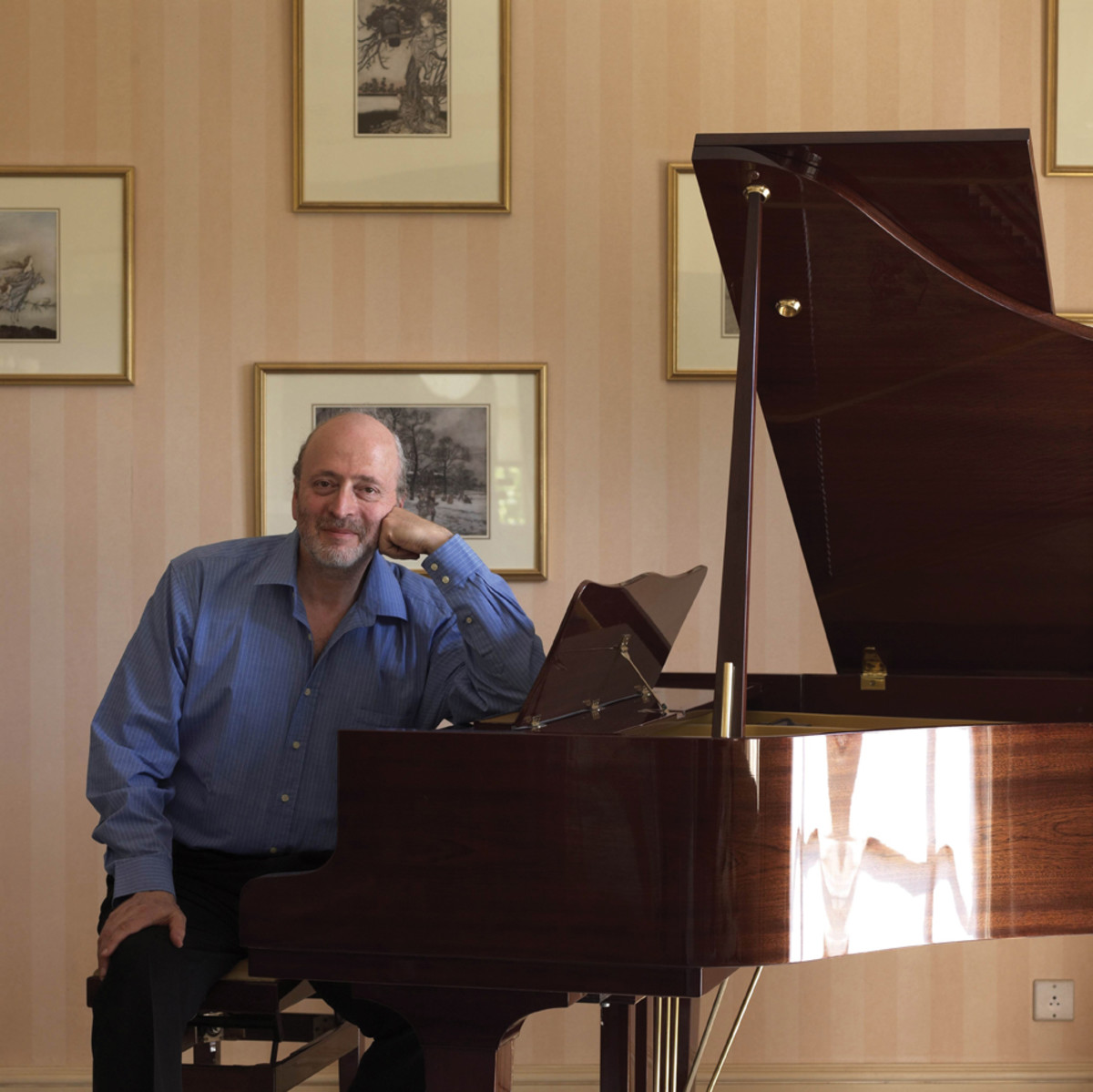 Eric Woolfson at home with his piano. Publicity image.